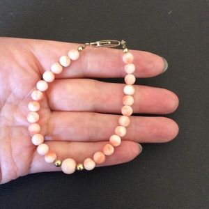 Vintage natural pink coral bracelet.